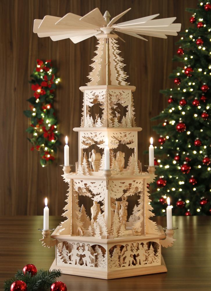original weihnachtspyramiden aus dem erzgebirge waldidyll modell bergmann mit kerzen. Black Bedroom Furniture Sets. Home Design Ideas
