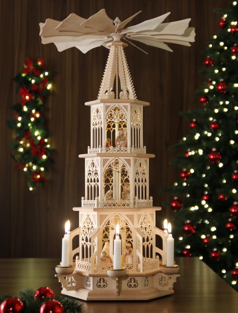 original weihnachtspyramiden aus dem erzgebirge gotische kerzen pyramide mit pema. Black Bedroom Furniture Sets. Home Design Ideas
