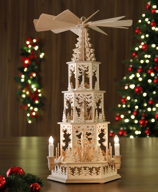 original weihnachtspyramiden aus dem erzgebirge waldmotiv elektrisch modell j ger waldleute. Black Bedroom Furniture Sets. Home Design Ideas