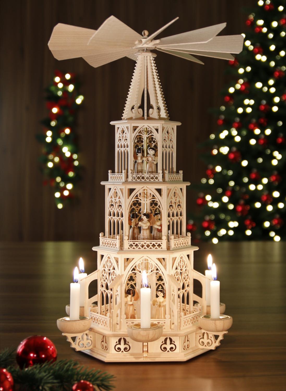 weihnachtspyramide aus dem erzgebirge 53 cm modell engel teelicht kerze ebay. Black Bedroom Furniture Sets. Home Design Ideas